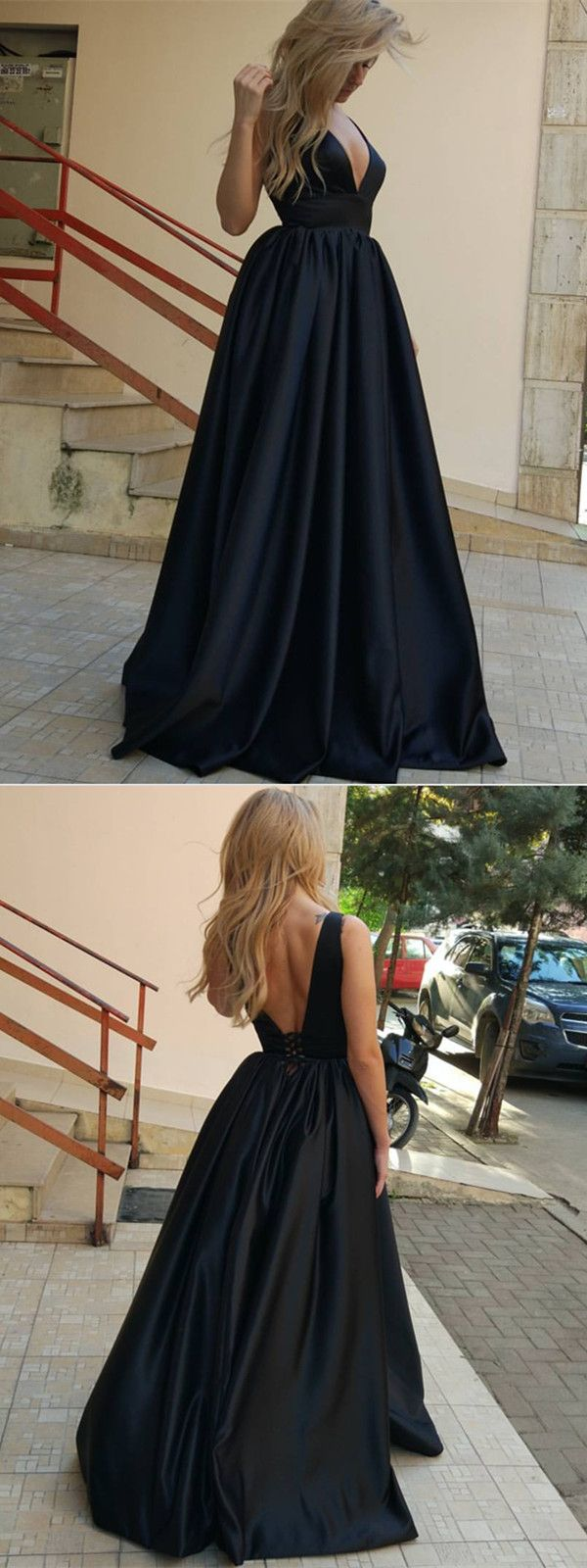 Gorgeous Black Satin Evening Gowns 2018 Sexy V Neck Prom Dresses
