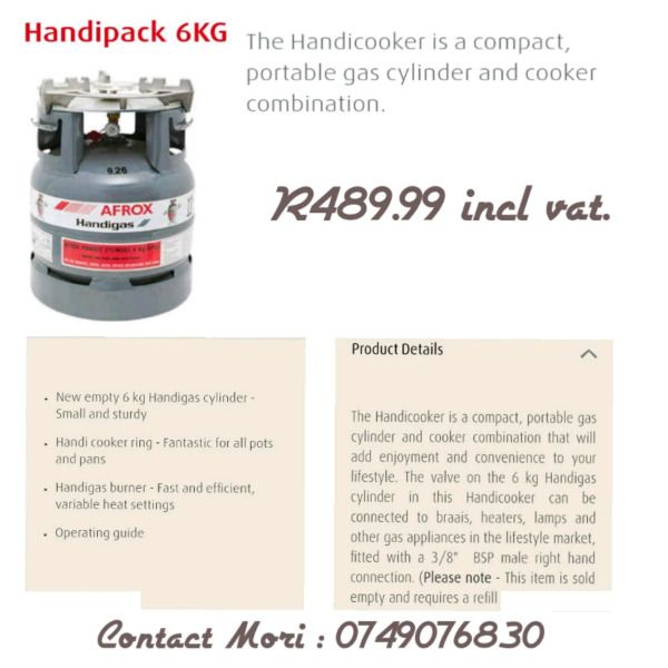 Handipack Gas 6kg ●The handy cooker is a compact, portable gas cylinder & cooker combination. ●Fantastic for all pots & pans, incl...212000513