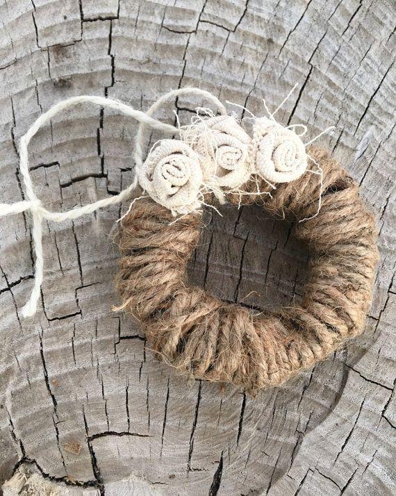 Canvas Flower Twine Wreath Ornament Miniature Wreath by tkCo