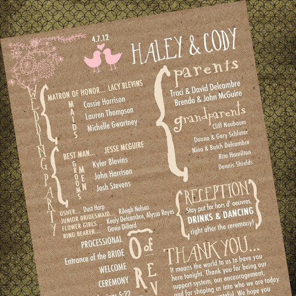 Rustic Vintage Wedding Program. $50.00, via Etsy.