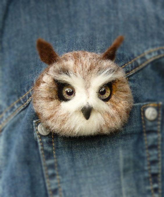 Felt Wool Owl Brooches Felt Owl Bird Brooch от SvetlanaToys: