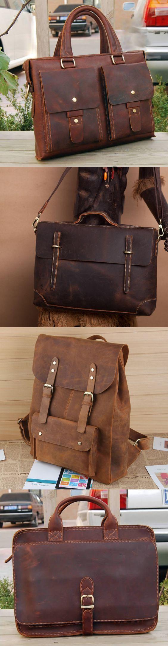 14'' UNISEX Genuine Leather Briefcase, Messenger Bag, Laptop Bag