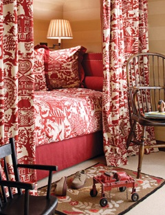red and white bedroom...
