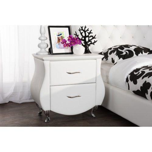 Erin Faux Leather Modern Furniture Bedside Table Upholstered Medium White, Baxton Studio