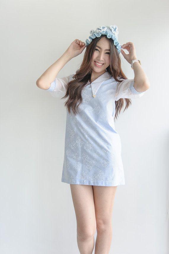 Dress cotton screen denim rose baby doll by Pleaseshopaccbypeach