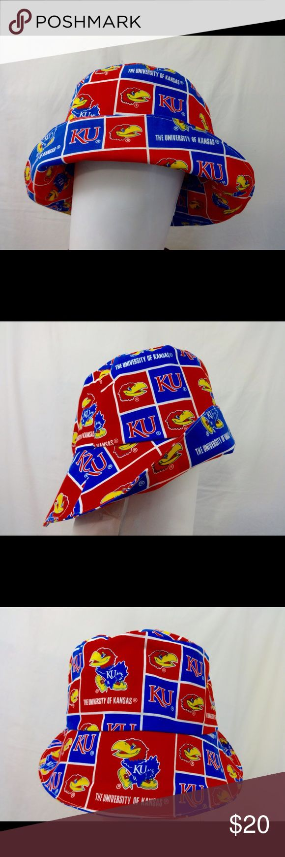 Kansas Jayhawks Bucket Hat Made with NCAA licensed Kansas Jayhawks fabric, this bucket hat fits up to 23 inch head circumference. Brim can be flipped up or down. 100% cotton. Unisex hat for men or women. Leimaj Creations Accessories Hats