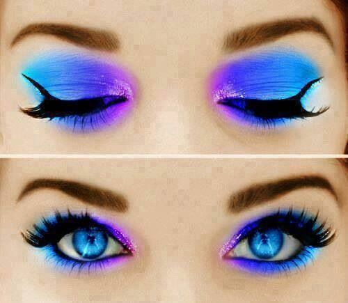 this is just a really pretty and colorful makeup look.really what they have done is but light blue on the outer corner and a darker blue in the middle with a little pink/purple color in the inner corner. at the bottom of the eyelid they put light blue ,dark blue ,and a pink/purple color.