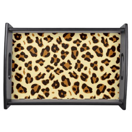 Cool brown leopard animal print serving tray - cool gift idea unique present special diy