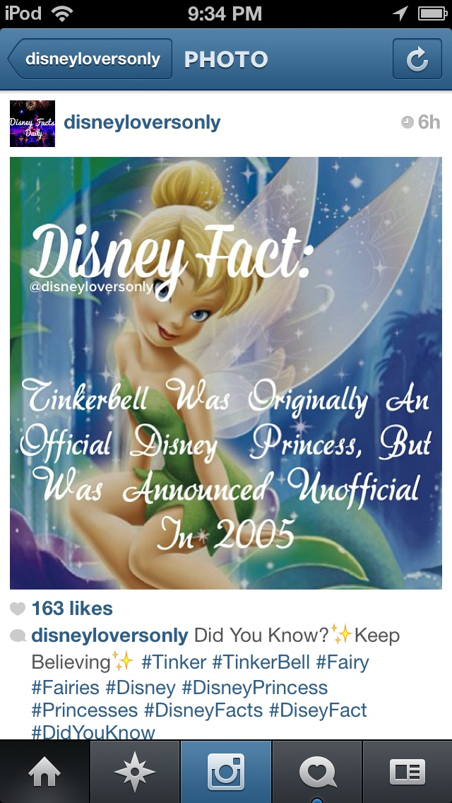 Disney fact. WHAT!!!! I LOVE TINKERBELL!!  Well, I love sassy rude homicidal Tinkerbell from the movie, not the fluffy sparkly Tinkerbell of the franchise.