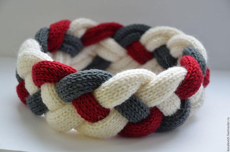 Купить Повязка-коса - комбинированный, абстрактный, повязка на голову, повязка, повязка для волос, повязка вязаная