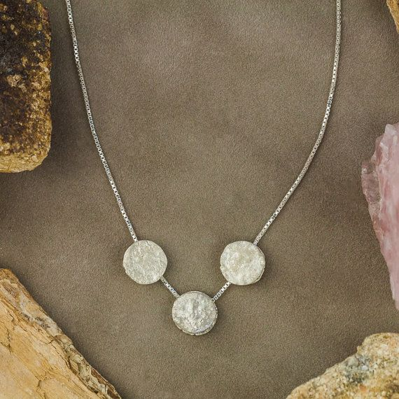 Name ❤18K White Gold Necklace and Pendant, Three Pieces White Gold Pendant, Handmade Jewelry  Description: ❤Charming three pieces white gold