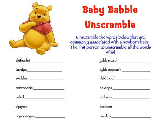 Winnie The Pooh Baby Shower Game Packs 2 Games By