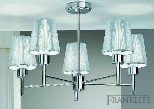 Franklite Chrome finish 5 light fitting with silver finely strung shades. Chrome finish 5 light fitting with silver finely strung shades. http://www.comparestoreprices.co.uk/home-and-garden-lighting/franklite-chrome-finish-5-light-fitting-with-silver-finely-strung-shades-.asp
