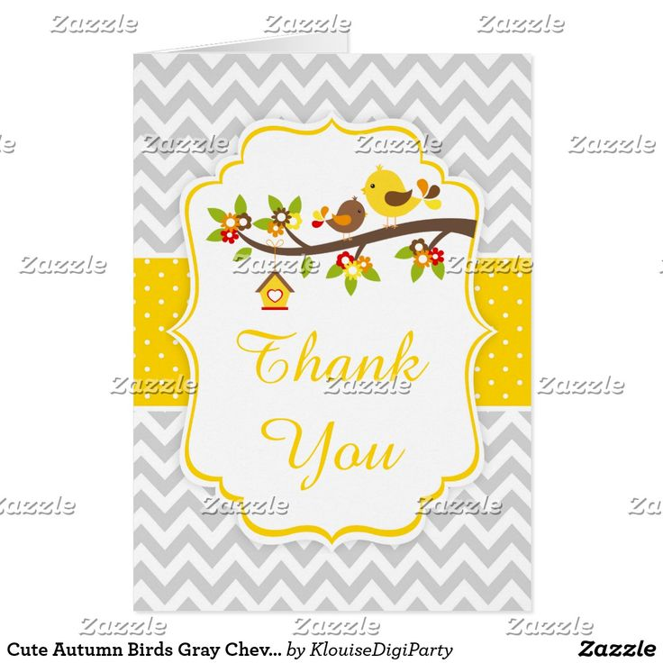 Cute Autumn Birds Gray Chevron Thank You Card
