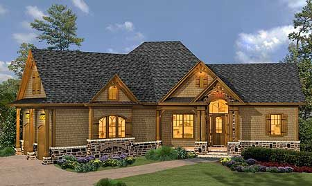 Plan 15887ge Rustic Hip Roof 3 Bed House Plan House