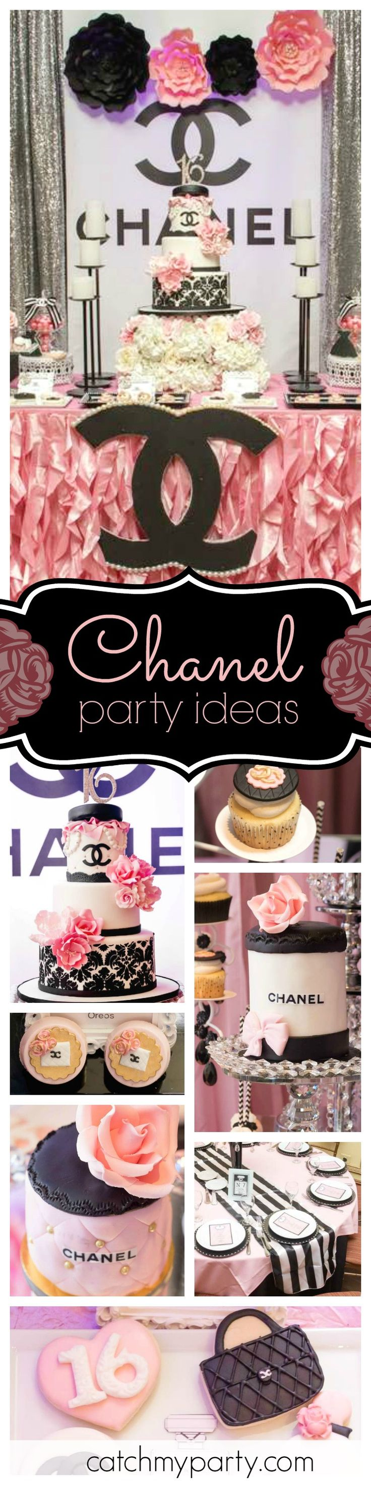 You don't want to miss this glamorous Chanel inspired Sweet 16 birthday party. It's fabulous!! Just look at that cake! See more party ideas and share yours at CatchMyParty.com