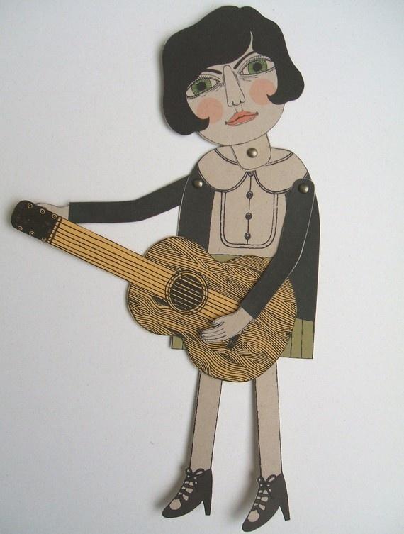 the pin palsLa Guitar, Joue De, I M Pin, Thepinp Etsy Com, Josephine Joue, Thepinpals Etsy Com, Paper Puppets, Art Pincushions Sewing, Pin Pals