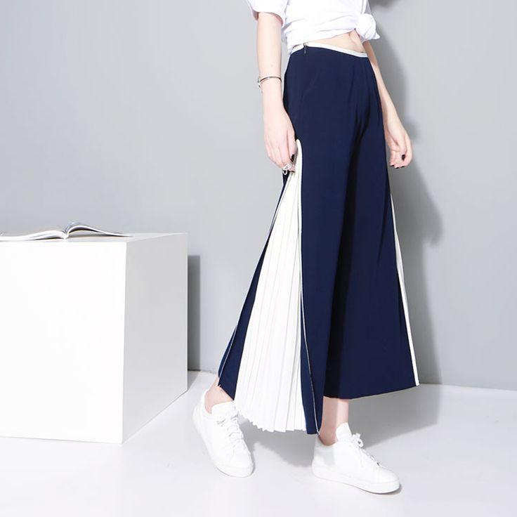 Unique New white pleated chiffon stitching wide leg pants capris Women Summer Fashion High Quality Chiffon Trousers Frauenhose #men, #hats, #watches, #belts, #fashion
