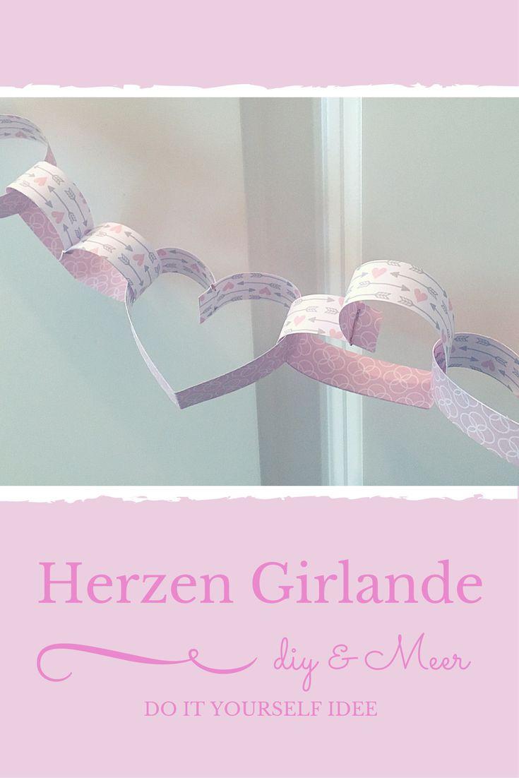 {DIY} Herzen Girlande als tolle Dekoration für deine Hochzeit, Jahrestag oder den Valentinstag - http://diyundmeer.de