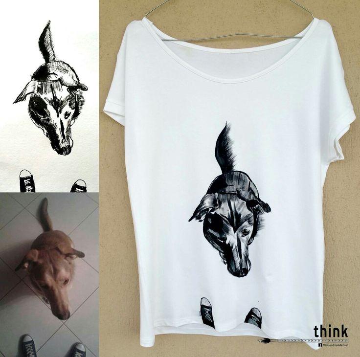 Handpainted dog illustration on white t-shirt.