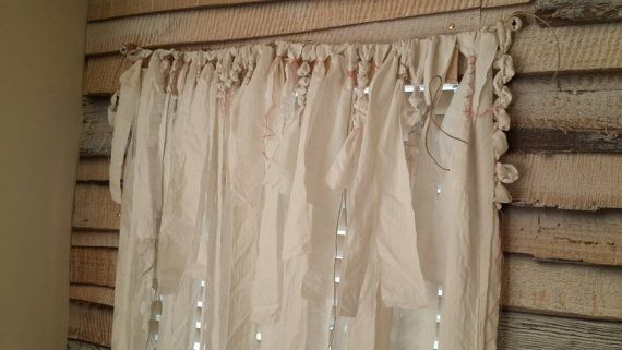SALE White Curtains Large Rag Curtain Cotton by YourGreatestStory