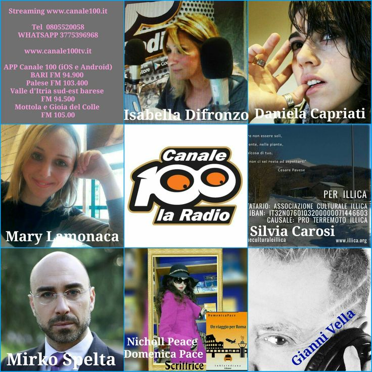 Streaming www.canale100.it  Tel 0805520058 WHATSAPP 3775396968  www.canale100tv.it  APP Canale 100 (iOS e Android) BARI FM 94.900  Palese FM 103.400  Valle d'Itria sud-est barese  FM 94.500 Mottola e Gioia del Colle  FM 105.00