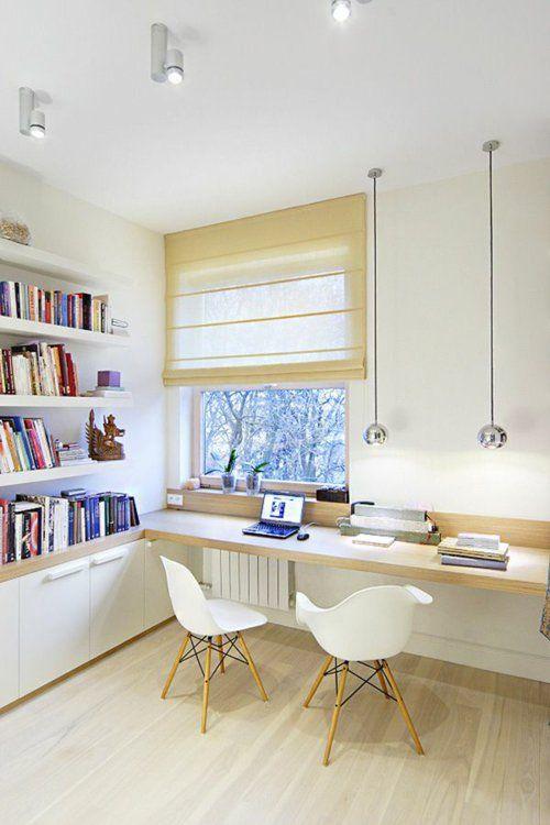 schreibtisch selber bauen diy ideen holzplatte hell bücherregal skandinavisches design