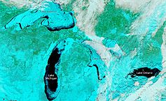 !!! Harsh Winter Causes Greatest Great Lakes Ice Coverage Since 1979..Woooah..!! This is amazing..one could walk across the river to Canada..woooow..the most ice in 35 years !! No one can tell me that global warming is not a REAL phenomena..!!!