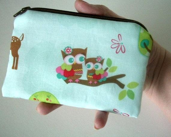 Zipper pouch ECO Friendly Forest Friends Owls Little Coin Purse Gadget Case by JPATPURSES, $8.00