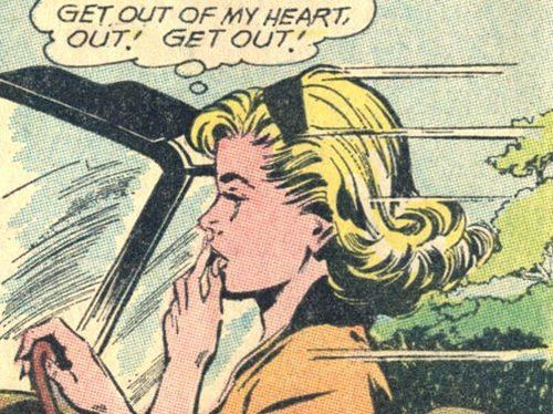 "Comic Girls Say.. "" Get out of my heart, out ! Get out! '  #comic #vintage"