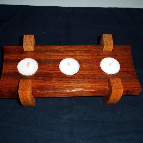 Handcrafted Exotic Jatoba and Oak Triple Tea Light Candle Holder: Tea Light Candles, Woodworking Projects, Candle Holders, Candles Holders, Danishes Oil, Home Decor, Triple Teas, Tea Lights, Teas Lights Candles