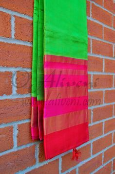 Parrot Green Plain Kuppadam Saree with Broad Pink/Red/Zari Border - Aliveni - 2