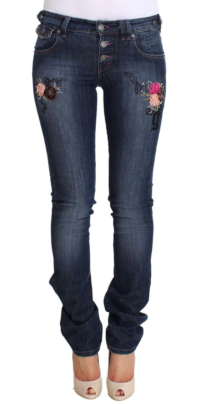 Blue Wash Flare Cotton Stretch Denim Jeans