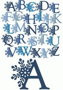 Silhouette Online Store - View Design #52177: snowflake alphabet & letters