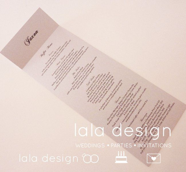 Menu with place card