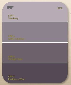 My livingroom/dining room color is Silverberry (top) and my entrance way is Vintage Grape (3rd color down)!  Love it!