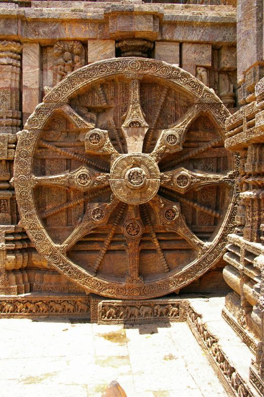 Hindu Mandir Architecture depicting a Chariot wheel of a Vimana - Flying Chariot in ancient India