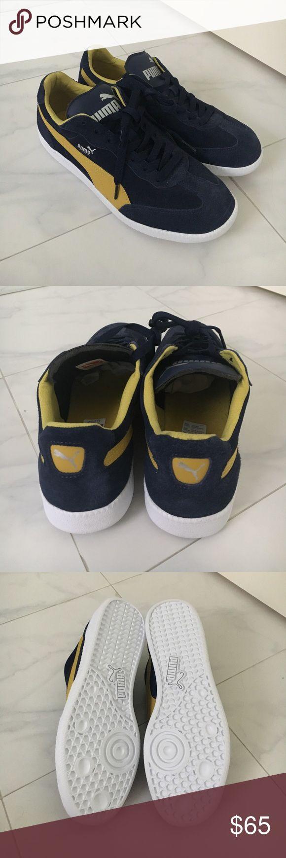 NWOB RARE!! navy/yellow Puma Liga NWOB navy/yellow Puma Liga. Never worn. Classic puma style. Comes from a smoke/pet free home. Puma Shoes Sneakers
