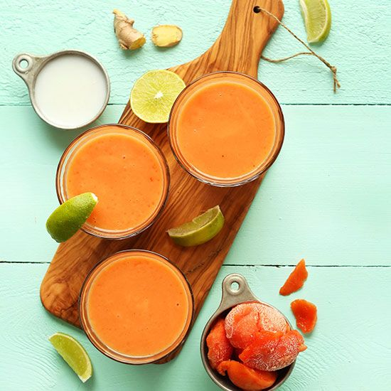 Creamy papaya smoothie infused with lime, ginger, carrot and coconut ...