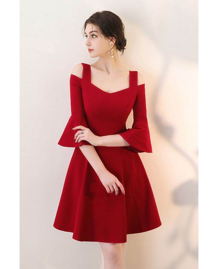 Burgundy Aline Short Red Homecoming Dress with Bell Sleeves #HTX86042 – GemGrace…
