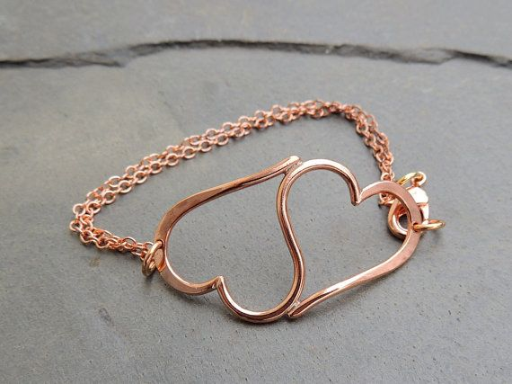Heart Bracelet • Double Heart Bracelet in Copper • Valentines Day Jewelry
