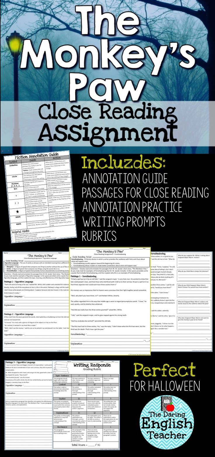 Monkey's Paw Close Reading Assignment | Close Reading Resources for
