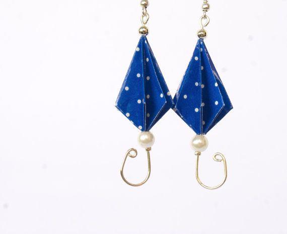 Blue umbrellas earrings origami paper jewelry  by MilleGrudicarta, €15.00