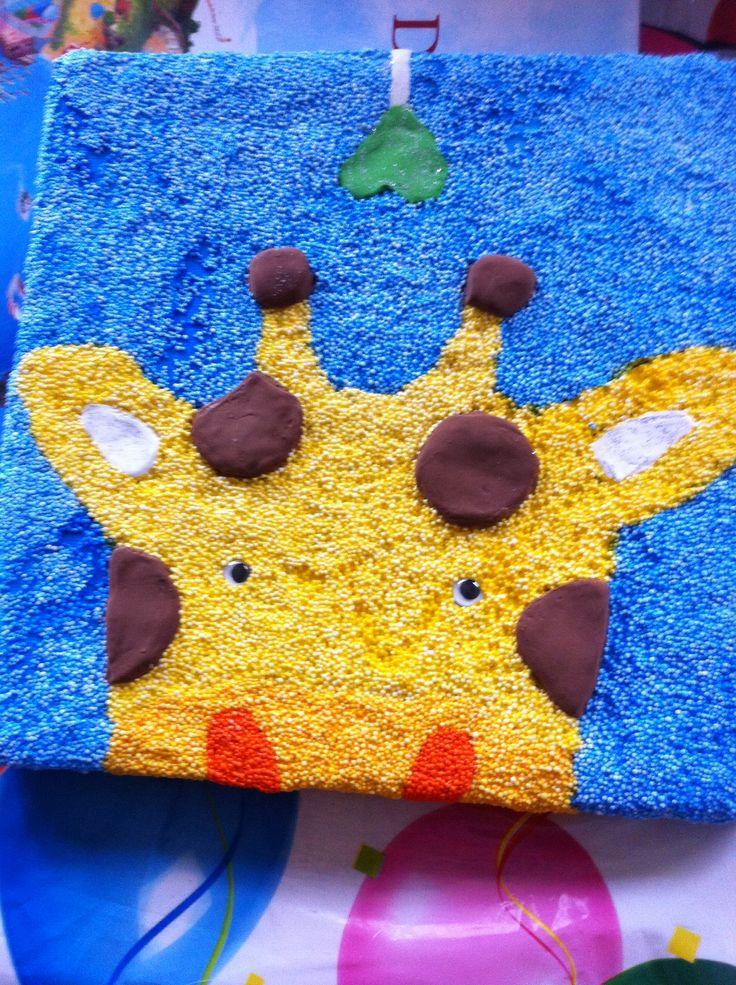 Kinderfeestje schilderij van foamklei maken. Simpel en geen troep.