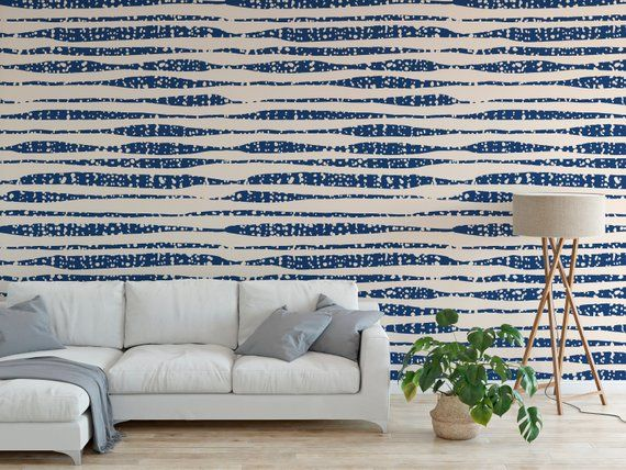 Peel And Stick Wallpaper Blue Stripe