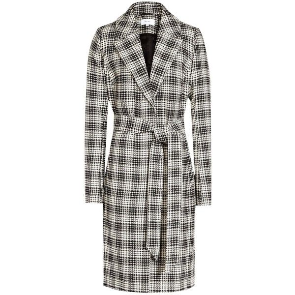 Reiss Rowan Textured Check Coat, Black/White (555 CAD) ❤ liked on Polyvore featuring outerwear, coats, reiss coat, long sleeve coat, textured coat, checkered coat and white and black coat