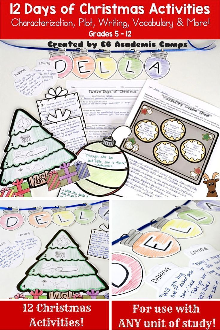 12 Christmas Activities for Grades 5-12! These make gorgeous Classroom Decorations, too!! These Christmas writing activities are a perfect way to help you and your students celebrate the holidays in your English Language Arts classroom!