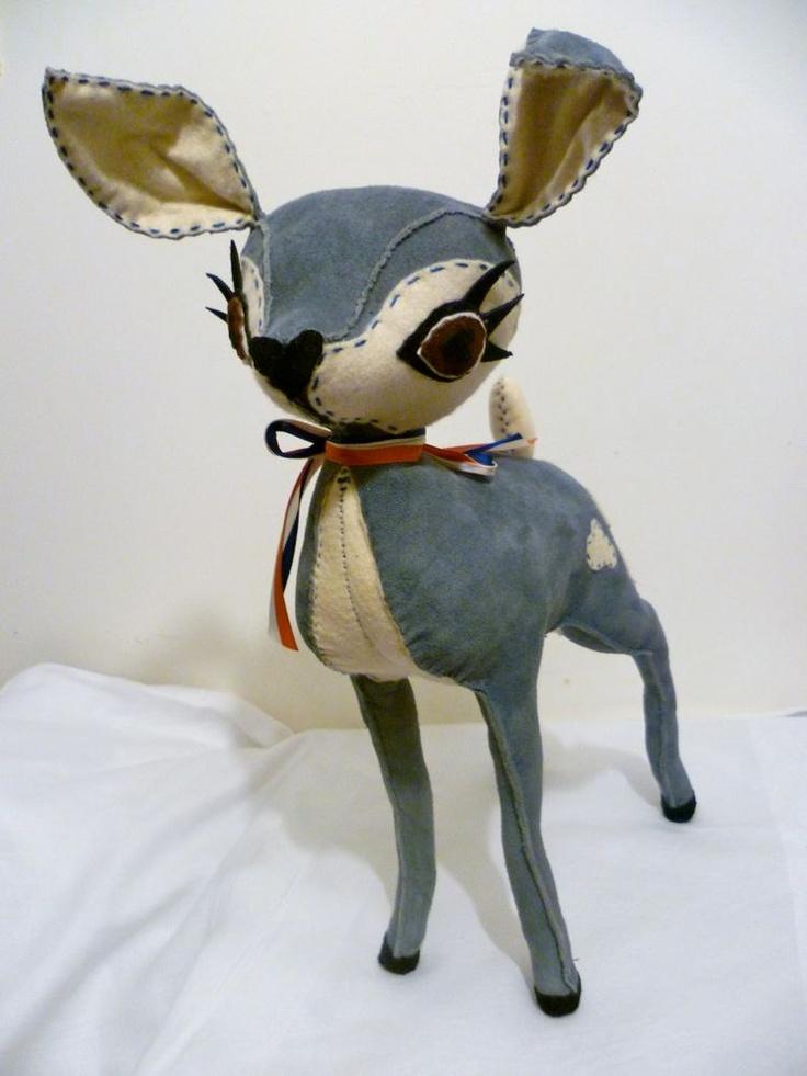 Elvis - Blue Suede Leather & Cream Felt Hand Stitched Deer