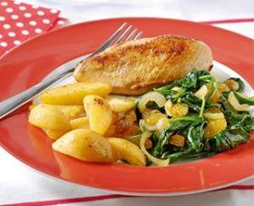 woensdag: Kipfilet met spinazie, rozijnen en gebakken aardappelpartjes