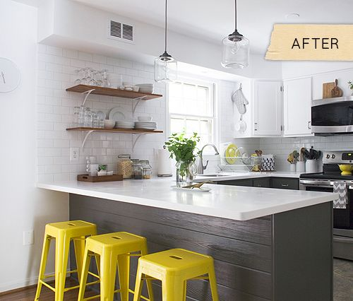 10 Creative Ideas to Add Personal Style to Your Kitchen.  Yellow and grey kitchen makeover